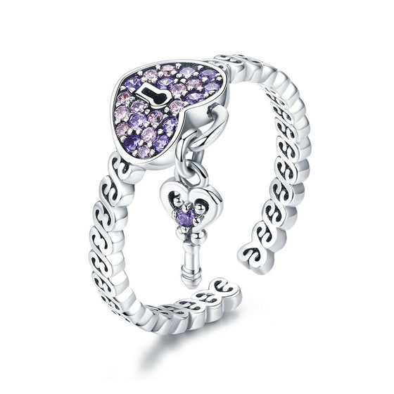 WOSTU 925 Sterling Silver Purple Sweet Love Heart Key Lock Rings For Women Silver Ring Wedding Engagement Party Jewelry SCR486