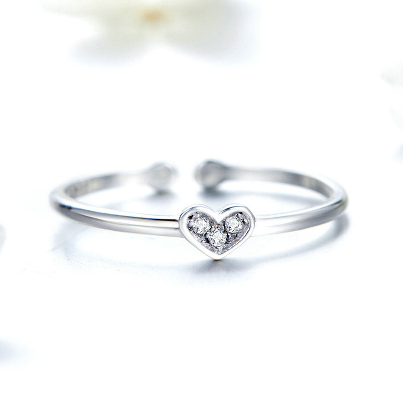 WOSTU Minimalist Style Love Heart Ring For Women  Adjustable Size Wedding Anniversary Rings Jewelry SCR491 - WOSTU