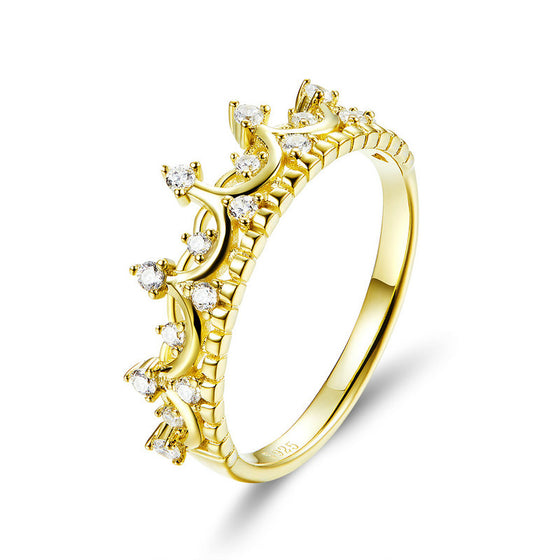 WOSTU Gold Color Queen Crown Ring Zircon Finger For Women Wedding Engagement Rings 925 Jewelry SCR493 - WOSTU
