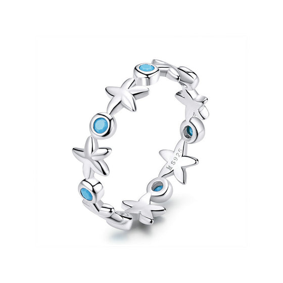 WOSTU Sea Beach Starfish Ring Blue Zircon Rings For Women Summer Holiday Silver 925 Jewelry SCR527 - WOSTU