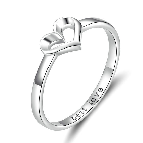 WOSTU WEDDING JEWELRY HEART FINGER RINGS SCR578 - WOSTU