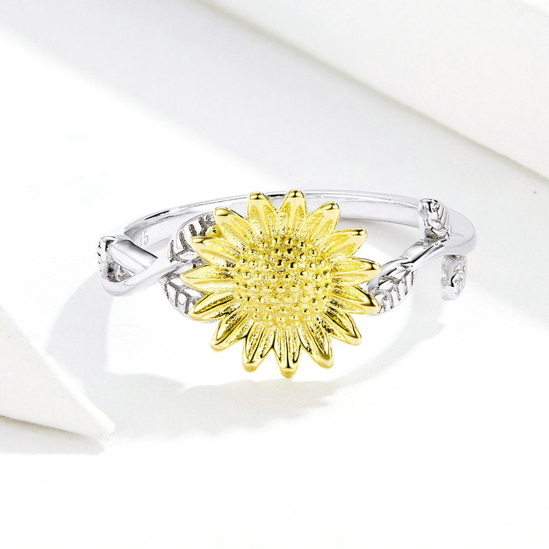 WOSTU GOLDEN SUNFLOWER FINGER RINGS SCR596 - WOSTU