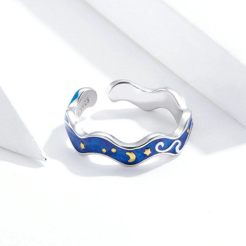 WOSTU Starry Sky Blue Ring Wedding Jewelry SCR608 - WOSTU