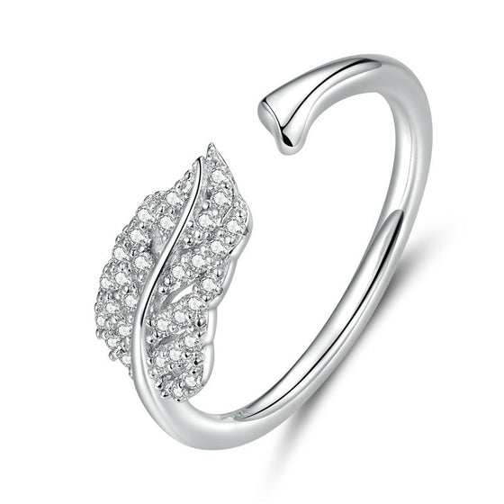 WOSTU Feather Clear Zircon Ring SCR614