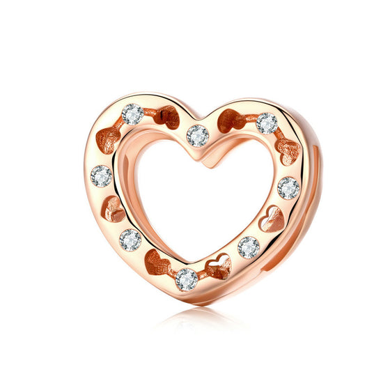 WOSTU ROSE GOLDEN HEART CHARM BEADS SCX106 - WOSTU