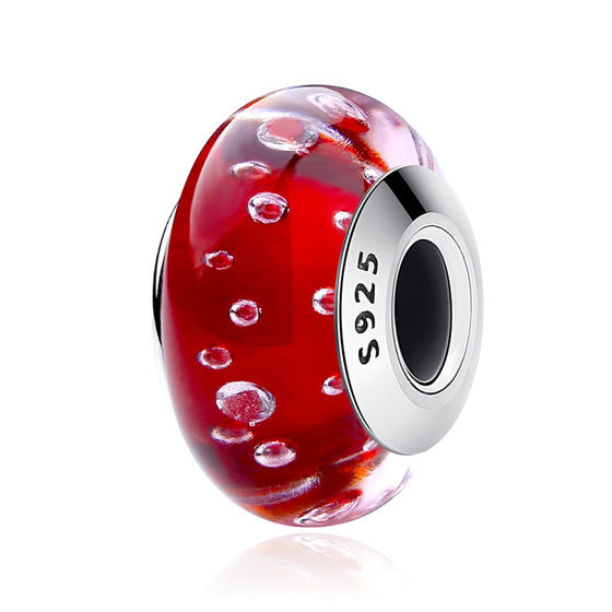 WOSTU RED GLASS SILVER CHARM BEADS SCZ027