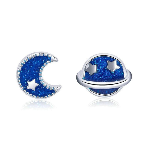 GLITTER BLUE MOON & STAR GALAXY STUD EARRINGS VSE151 - WOSTU