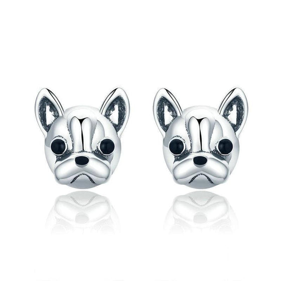 WOSTU 100% 925 Sterling Silver Loyal Partners French Bulldog Dog Animal Small Stud Earrings for Women Oorbellen Jewelry SCE283