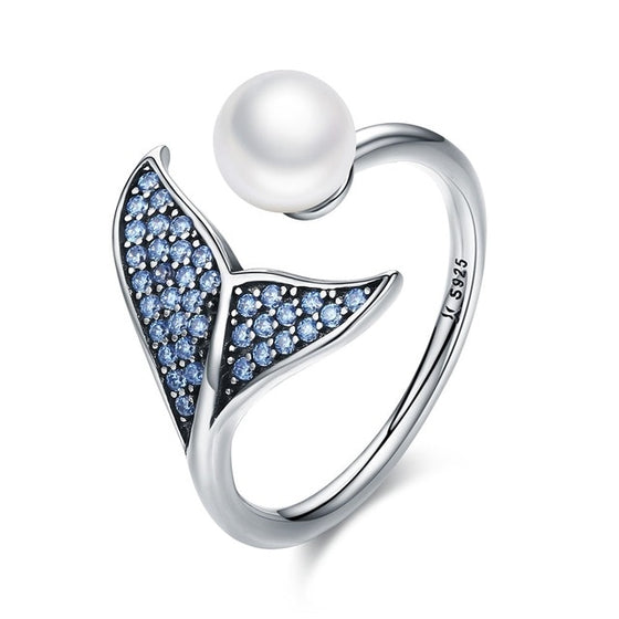 WOSTU 100% 925 Sterling Silver & Pearl The Tail Of Mermaid Adjustable Rings for Women Luxury S925 Silver Jewelry Gift SCR286 - WOSTU
