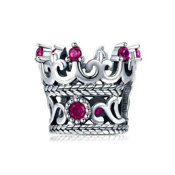 WOSTU Queen's Crown Pink CZ Beads Charms fit Original Bracelet & Necklace Women Fashion Jewelry SCC776 - WOSTU