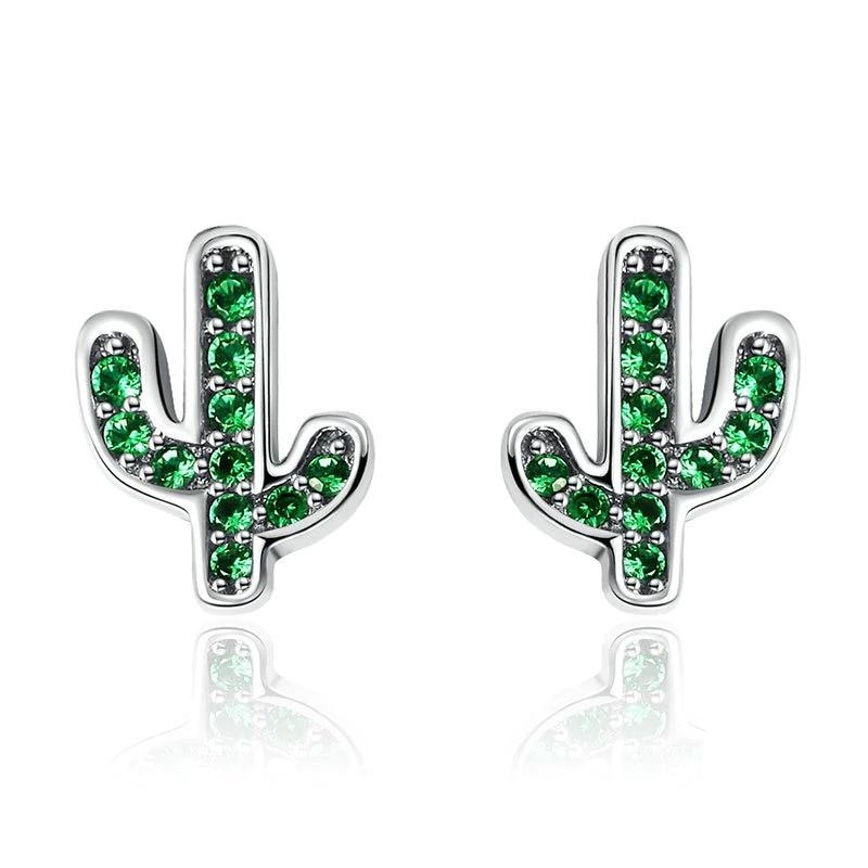 WOSTU Refreshing Green Cactus Crystal Trendy Stud Earrings For Women S925 Jewelry Gift Brincos SCE097 - WOSTU