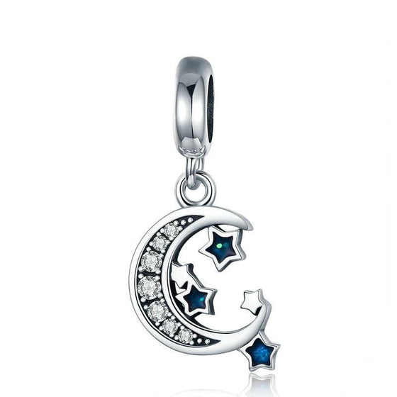 WOSTU Starry Sky Moon & Stars Dangles Charm fit Bead Bracelet Pendant Necklace DIY Jewelry Gift SCC639 - WOSTU