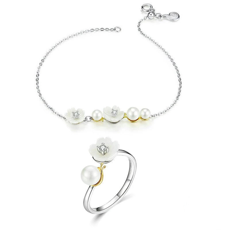 WOSTU White Flowers Rings and Bracelet Jewelry Sets ZHS151 - WOSTU