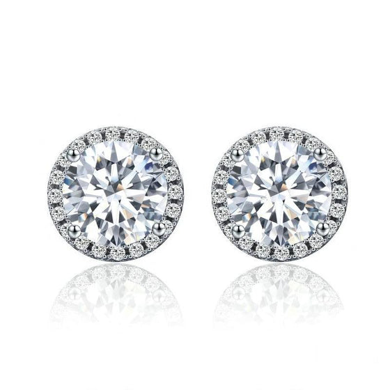 WOSTU 925 Sterling Silver 4 Carat Round Cut CZ Stud Earrings for Women Halo Bridal Bridesmaid Wedding Jewelry Gift SCE358