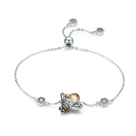 WOSTU Authentic 925 Sterling Silver Crown Honey Bee Chain Link Bracelet For Women Big Stone Crystal Bracelet Jewelry Gift SCB043 - WOSTU