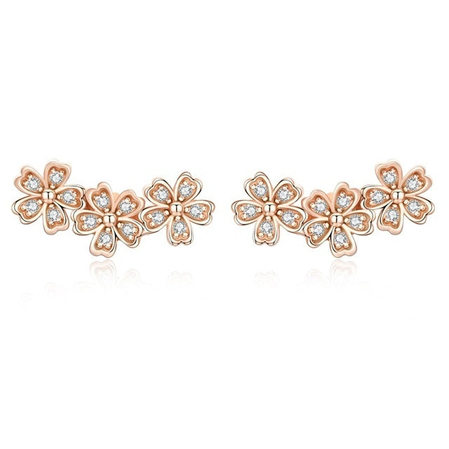 WOSTU Stackable Daisy Floral Stud Earrings Clear CZ Flower Woman Earring Party Jewelry Gift SCE419 - WOSTU