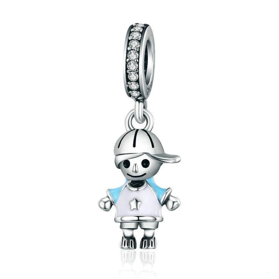 WOSTU Brand New Little Cute Boy Son Pendant Dangle fit Charm Bracelet Necklace DIY Jewelry Gift SCC544 - WOSTU