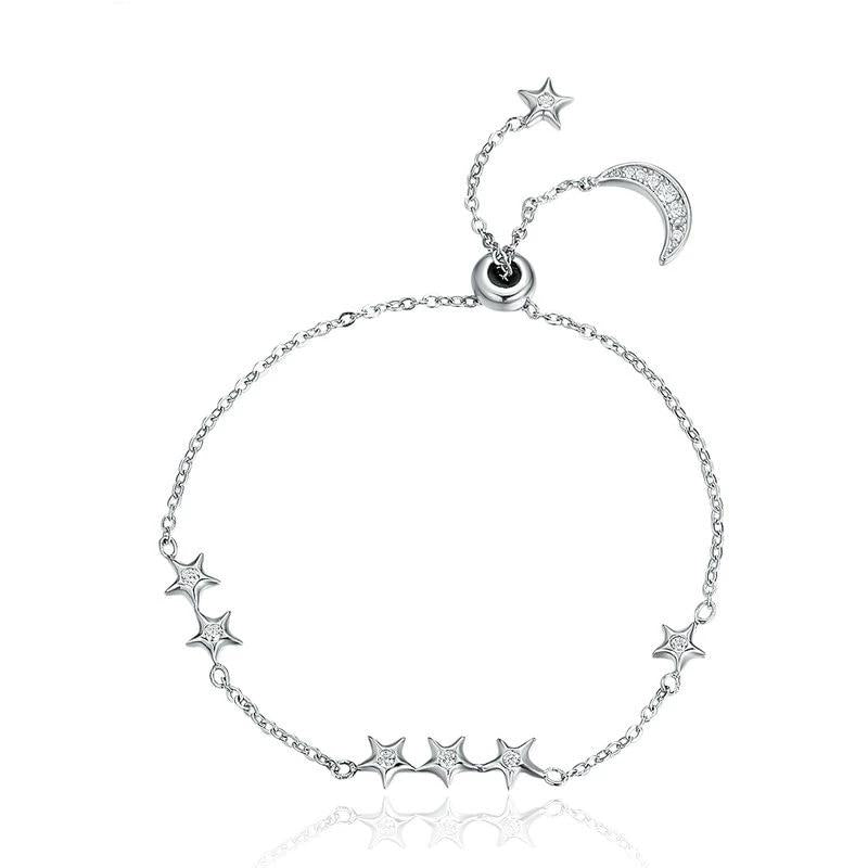 WOSTU Brand New Real 925 Sterling Silver Moon & Stars Adjustable Chain Bracelet For Women Fine Jewelry New Year Gift SCB007 - WOSTU