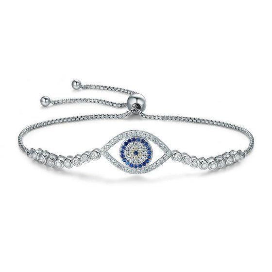 WOSTU Fashion New 100% 925 Sterling Silver Blue Eye Tennis Bracelet Women Lace up Link Chain Bracelet Silver Jewelry SCB034 - WOSTU