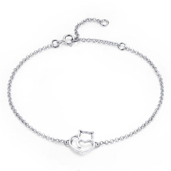 WOSTU & Cute Cat Kitty Bracelet Women Adjustable Link Chain Silver Party Jewelry SCB102 - WOSTU