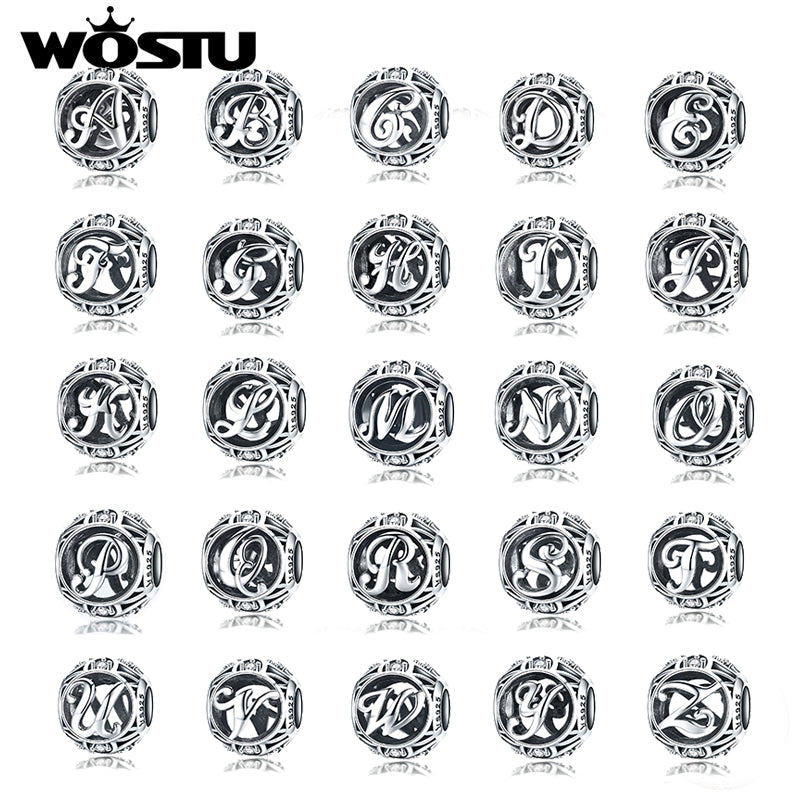 WOSTU Genuine 925 Sterling Silver Fashion Letter A-Z Beads Charm fit Original Bracelet Necklace Woman DIY Jewelry Making SCC738 - WOSTU