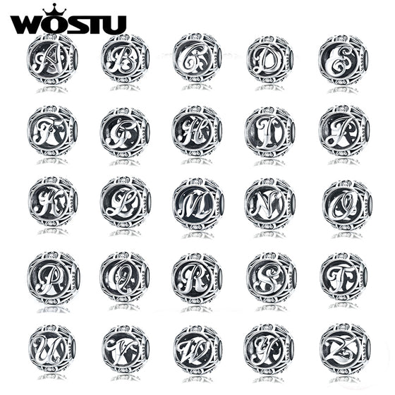 WOSTU Genuine 925 Sterling Silver Fashion Letter A-Z Beads Charm fit Original Bracelet Necklace Woman DIY Jewelry Making SCC738