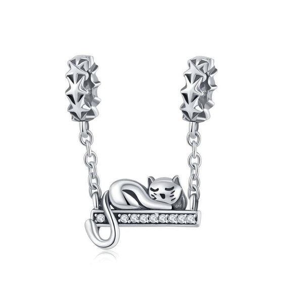 WOSTU Sterling Silver Cute Cat Lying Swing Clear CZ Charms fit Bracelet Pendant Bead Women Fashion Jewelry Gift SCC856 - WOSTU
