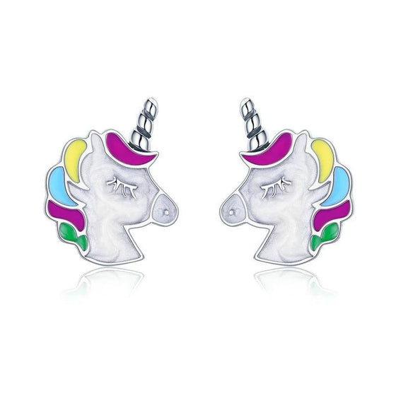 WOSTU HOT Sale 925 Sterling Silver Colorful Licorne Stud Earrings For Women 2019 Trendy Brand S925 Earring Jewelry Gift SCE393