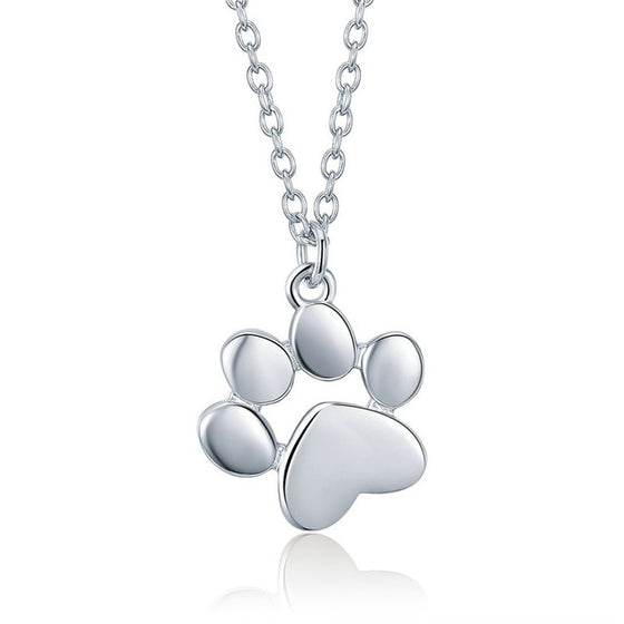WOSTU Cute Dog Footprints Link Pendant Necklace For Women Girlfriend Lovely Jewelry Gift SCN275 - WOSTU