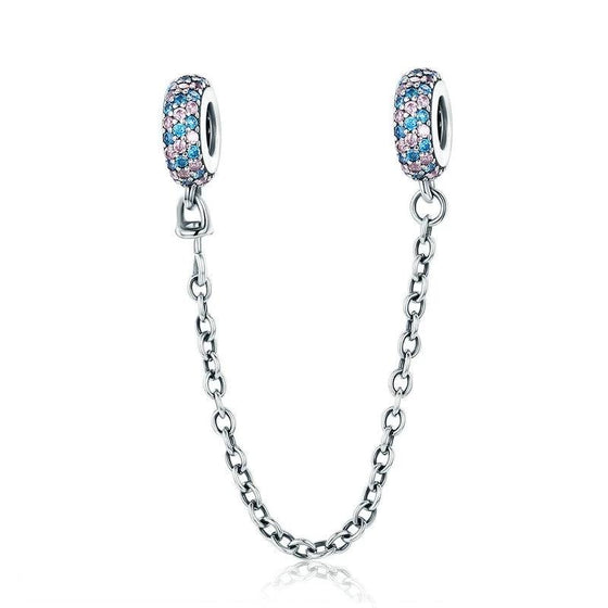 WOSTU Hot 925 Sterling Silver Pave Inspiration Safety Chain Charm Pink & Blue CZ Fit Original Beads Bracelet Jewelry Gift SCC379 - WOSTU