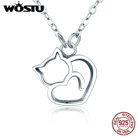 WOSTU Hot Fashion 100% 925 Sterling Silver Lovely Cat Exquisite Women Pendant Necklace Luxury S925 Silver Jewelry Gift SCN188 - WOSTU