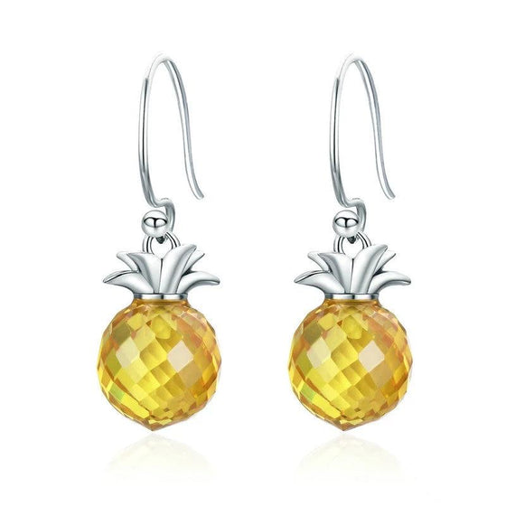 WOSTU Hot Sale 925 Sterling Silver Hanging Pineapple Yellow Crystal Drop Earrings for Women Sterling Silver Jewelry Gift SCE265