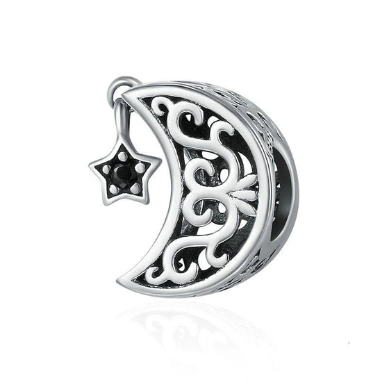 WOSTU Luxury 925 Sterling Silver Openwork Moon and Star Goodnight Charm Beads fit Bracelet DIY Jewelry Valentine Day Gift SCC483