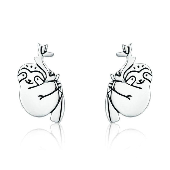 WOSTU New Cute Sloth Stud Earrings for Women Fashion Brand Silver Animal Jewelry Gift SCE327 - WOSTU