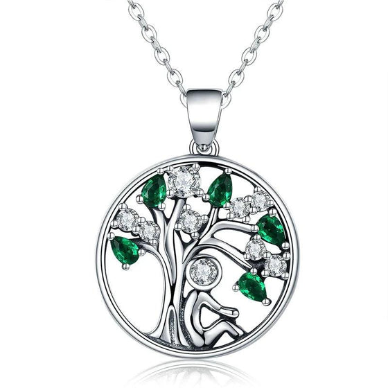 WOSTU New Arrival Real 925 Sterling Silver Relying in the Tree Pendant Necklaces For Women Luxury Fine Jewelry Gift SCN094 - WOSTU