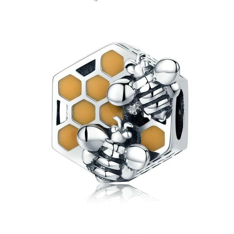 WOSTU Honeycomb Honey Bee Square Charm Beads fit Women Bracelet DIY Jewelry Making SCC500 - WOSTU