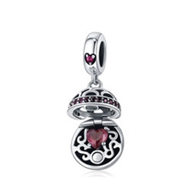 WOSTU Original Love Gift Box Pink CZ Charm Pendants Fit Charm Bracelet Necklace Jewelry Making Gift SCC689 - WOSTU