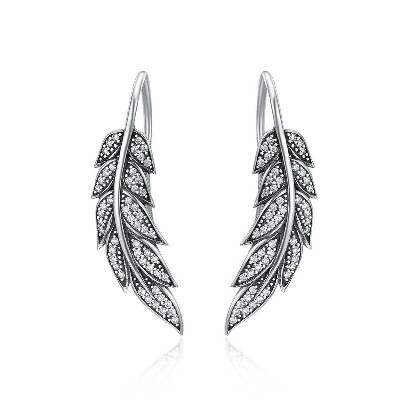 WOSTU Vintage Feather Wings Long Drop Earrings For Women Sterling Silver Jewelry Brincos SCE215 - WOSTU