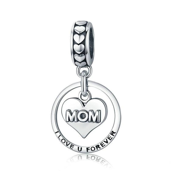 WOSTU Forever Love For MOM Charm fit Beads Bracelet Bangles Silver DIY Jewelry Gift For Mother SCC649 - WOSTU