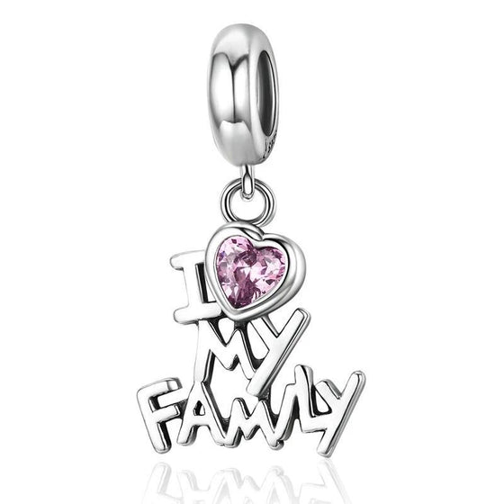 WOSTU I Love My Family Beads Dangle Fit Original Charm Bracelet Pendant Jewelry Gift SCC251 - WOSTU