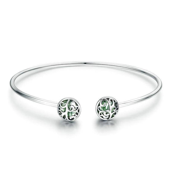 WOSTU Tree of Life Green Crystal CZ Women Open Cuff Bangle & Bracelet Luxury Silver Jewelry SCB057 - WOSTU