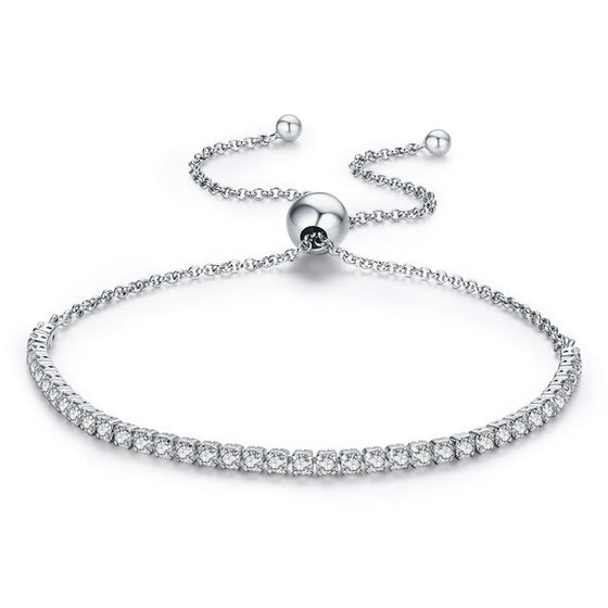WOSTU Top Sale Real 925 Sterling Silver Sparkling Strand Chain Bracelet For Women Fine Jewelry Lucky Gift SCB029 - WOSTU