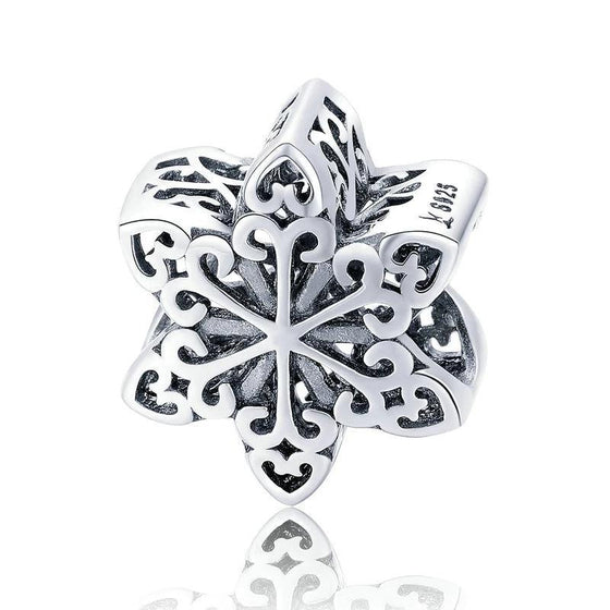 WOSTU Winter Style Real 925 Sterling Silver Snowflake Charm fit Original DIY Bead Bracelet Jewelry Fashion Gift SCC719