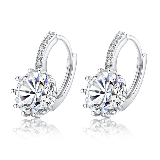 WHITE GOLD-PLATED CLEAR ROUND CUBIC ZIRCONIA WEDDING DISCOUNT HOOP EARRINGS - WOSTU
