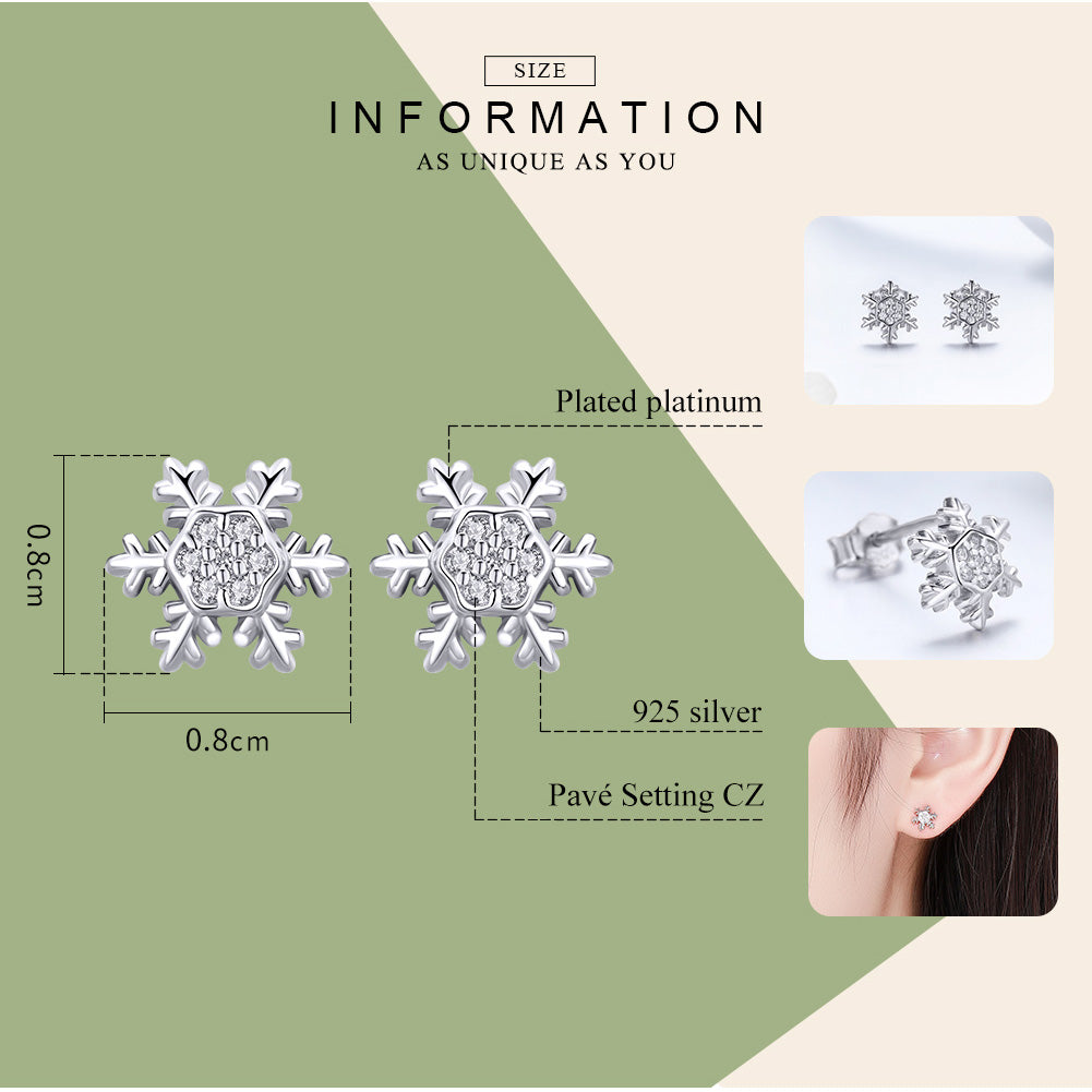 WOSTU 2018 Winter New Elegant Snowflake Stud Earrings For Women Party SFashion Jewelry BSE009 - WOSTU