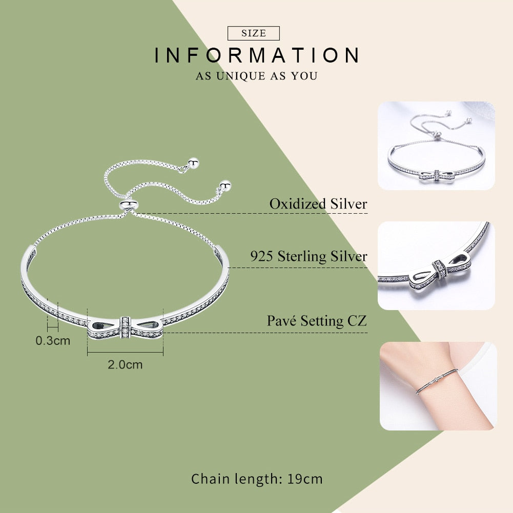 WOSTU New Arrival 925 Sterling Silver Sparkling Bowknot Chain Adjustable Bracelet Bangle For Women S925 Jewelry Gift SCB108 - WOSTU