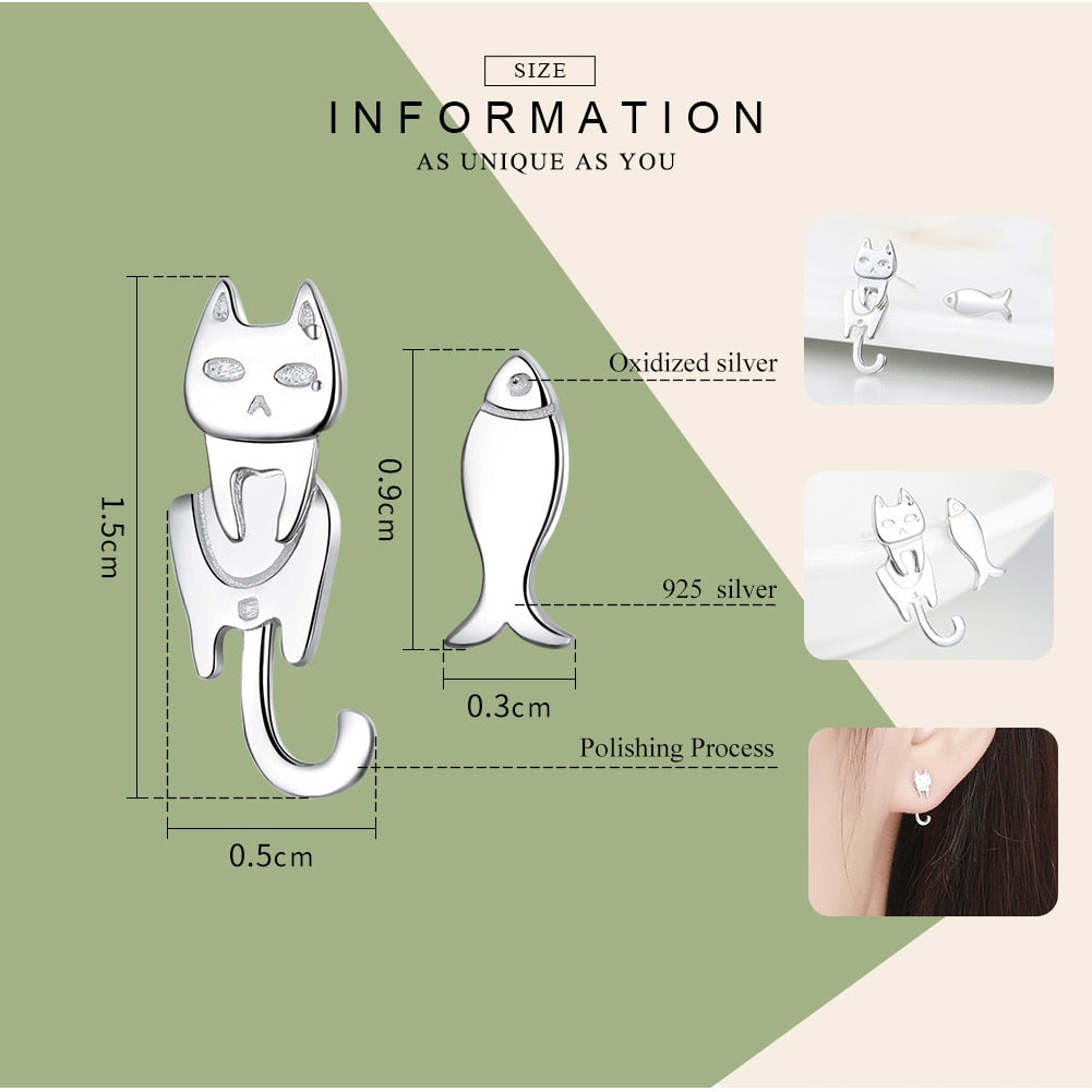 WOSTU 2018 Hot Sale 100% 925 Sterling Silver Lovely Cat and Fish Stud Earrings For Women Girl Brand Jewelry Fashion Gift SCE488 - WOSTU