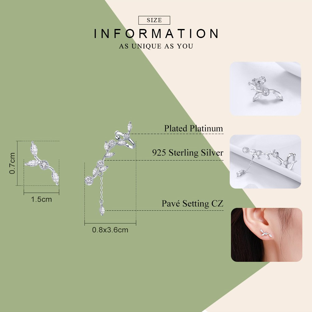 WOSTU Hot Sale 925 Sterling Silver Dazzling Leaves Stud Earrings For Women Female Original Design Silver Jewelry Gift SCE429 - WOSTU
