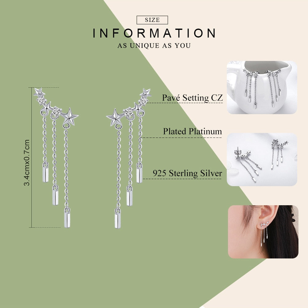 WOSTU New Arrival 925 Sterling Silver Dazzling Star Tassels Drop Earrings For Women Fashion Silver Jewelry Gift For Wife SCE399 - WOSTU