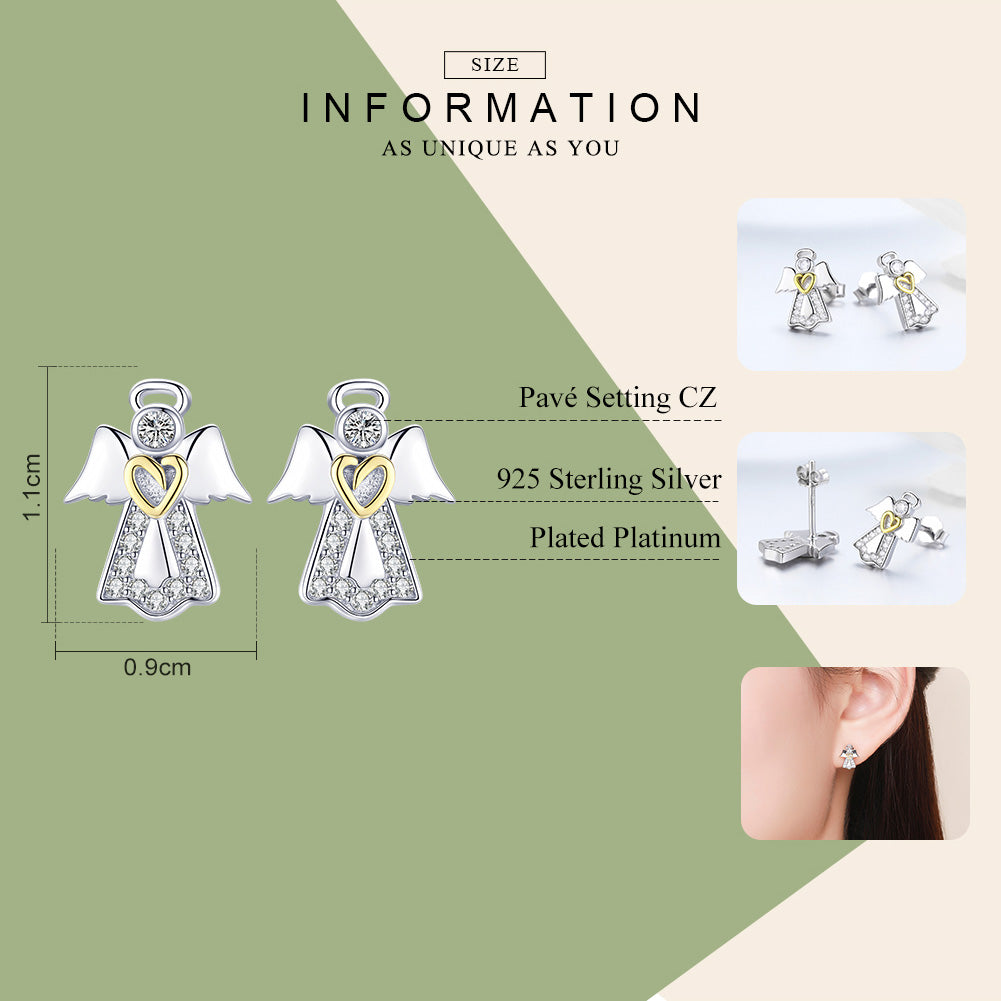 WOSTU Authentic 100% 925 Sterling Silver Guardian Angel Stud Earrings For Women Birthday Elegant Lucky Brand Jewelry Gift SCE476